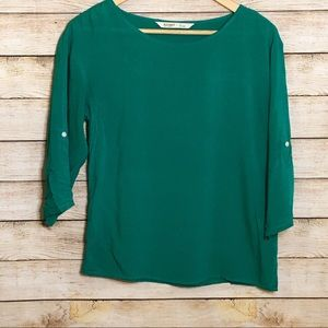Old Navy Womens Green Loose Relaxed 3/4 Sleeve